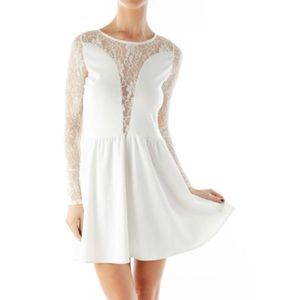 For Love and Lemons white long sleeve lace dress